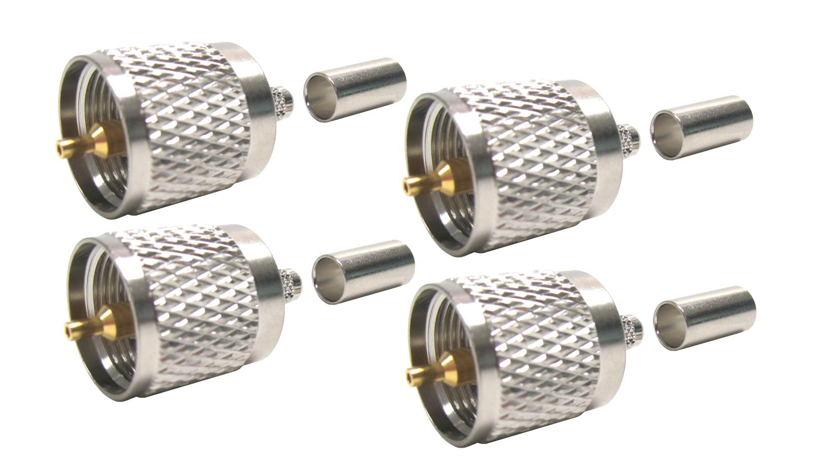 10 Packs PL-259 UHF Male Crimp Connector LMR-195 RG-58 Coaxial Cable