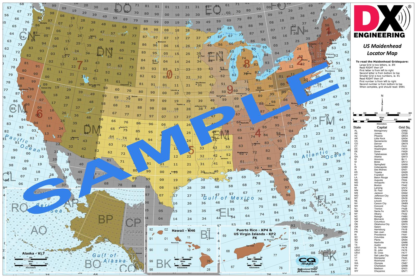Us Grid Square Map DX and Grid Square Maps USGHWP 24X36