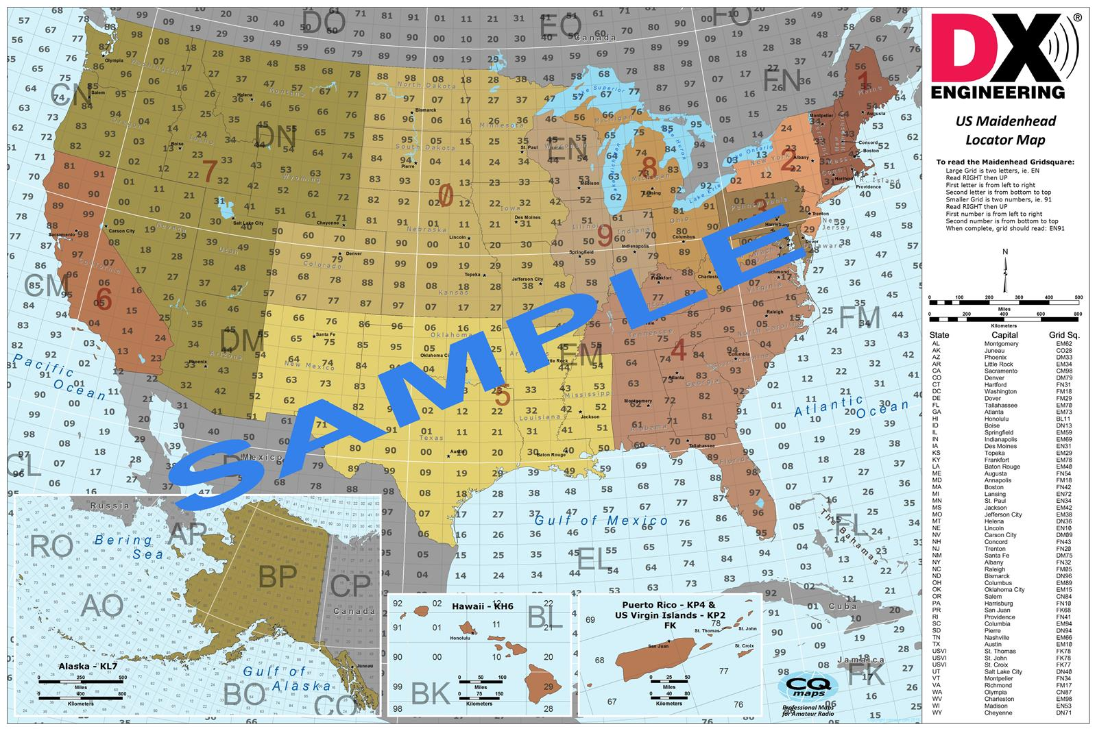 Dx And Grid Square Maps Usgmp 13x19 Free Shipping On
